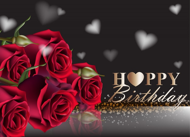 Happy Birthday Red Roses Background Vector Premium Download