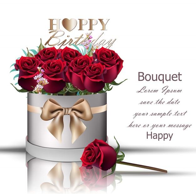 Happy Birthday Red Roses Bouquet Vector Premium Download