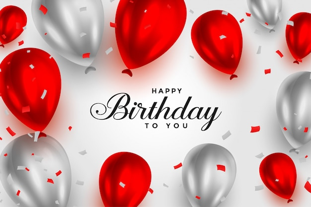 Happy birthday red and white shiny balloons background Free Vector