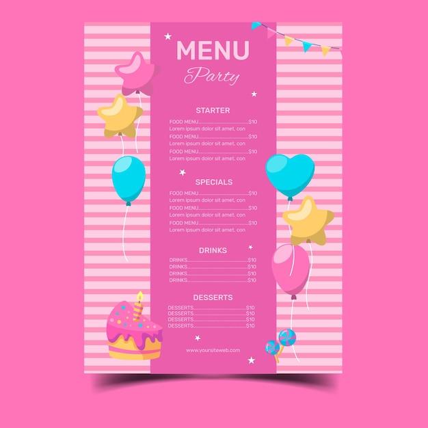 Happy birthday restaurant menu template Free Vector