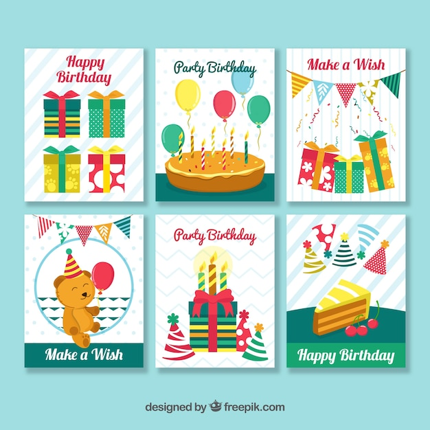 Happy Birthday Retro Card Pack Vector Free Download