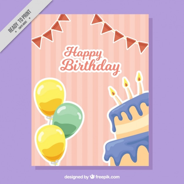 Happy birthday retro card with cake and\ balloons