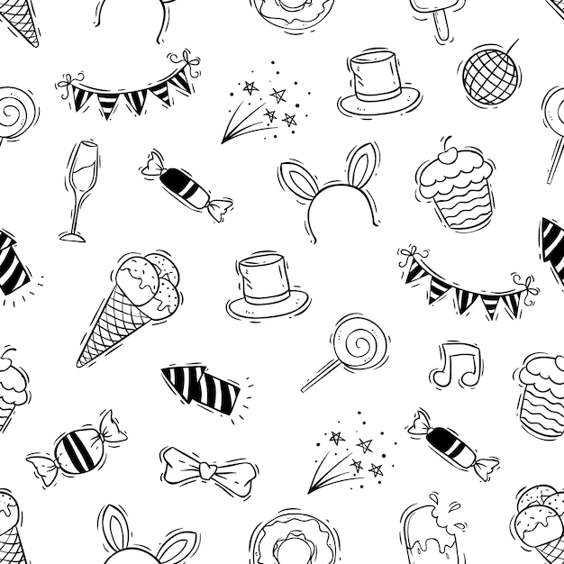 Happy birthday seamless pattern with hand drawn style Premium Vector