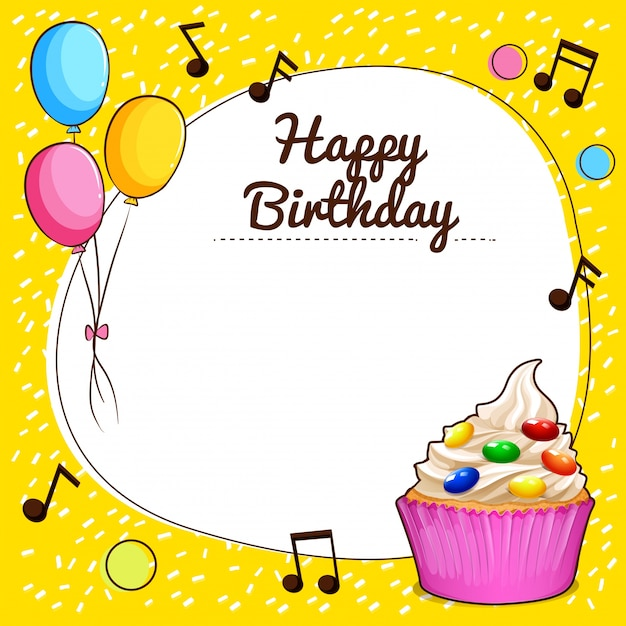 Happy birthday sign with cupcake design illustration Free Vector