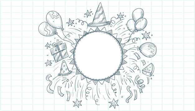 Buon compleanno schizzo celebrazione sfondo Vettore gratuito