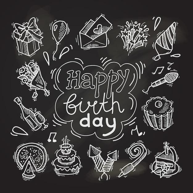 Happy birthday sketch elements on chalkboard Free Vector