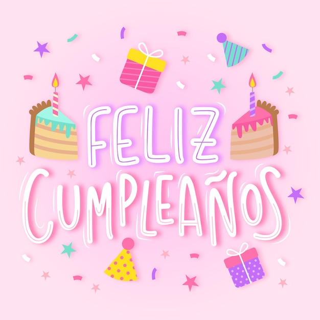 Amazing Happy Birthday In Spanish Lettering With Cake Free Vector Funny Birthday Cards Online Alyptdamsfinfo