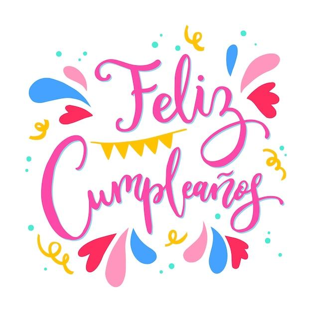 Strange Happy Birthday In Spanish Lettering Free Vector Funny Birthday Cards Online Alyptdamsfinfo