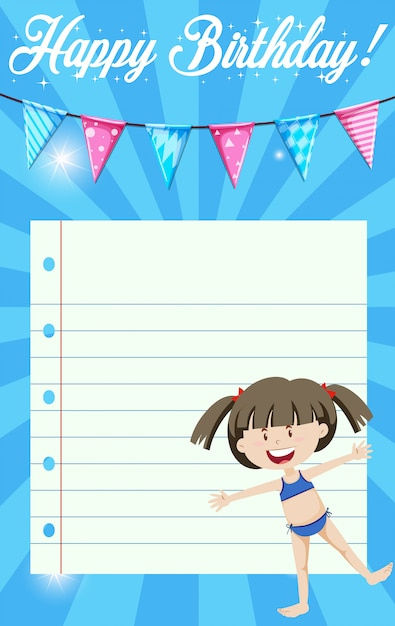 A happy birthday template Free Vector