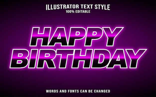 お誕生日おめでとうテキストスタイル効果 Premiumベクター