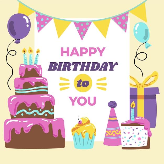 С днем рождения тебя сладким пирогом и подарками Бесплатные векторы