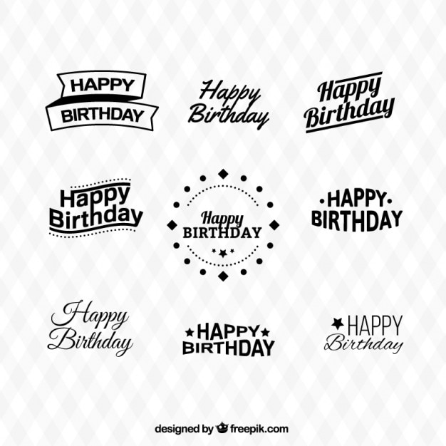 Happy birthday types collection Free Vector