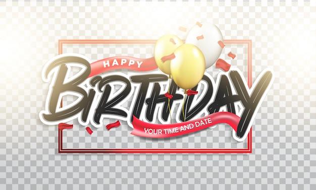 Happy birthday typographic Premium Vector
