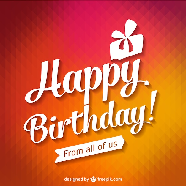 Happy Birthday Typography Card Vector | Free Download