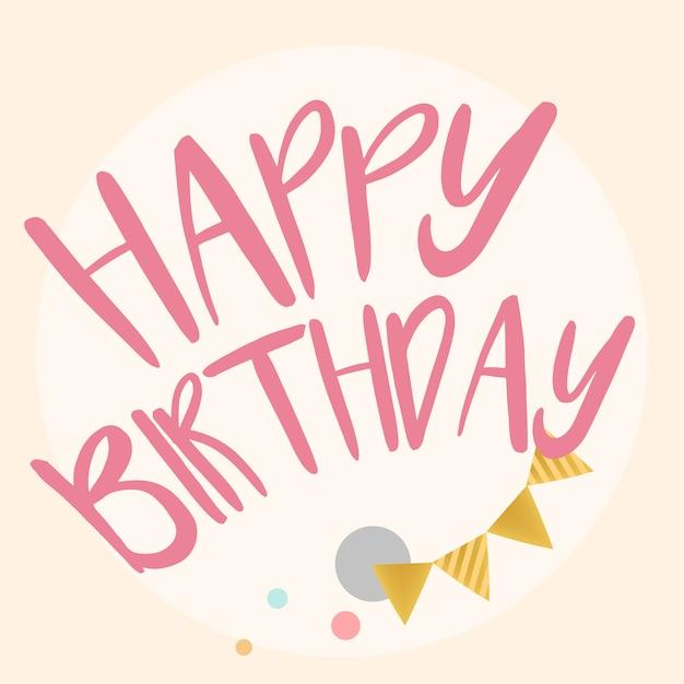 Happy birthday typography design vector Free Vector