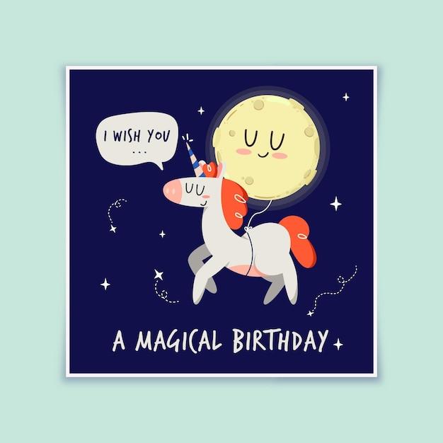 お誕生日おめでとうユニコーンと月カード 無料ベクター