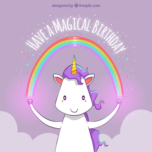 Happy birthday unicorn background with a rainbow Free Vector