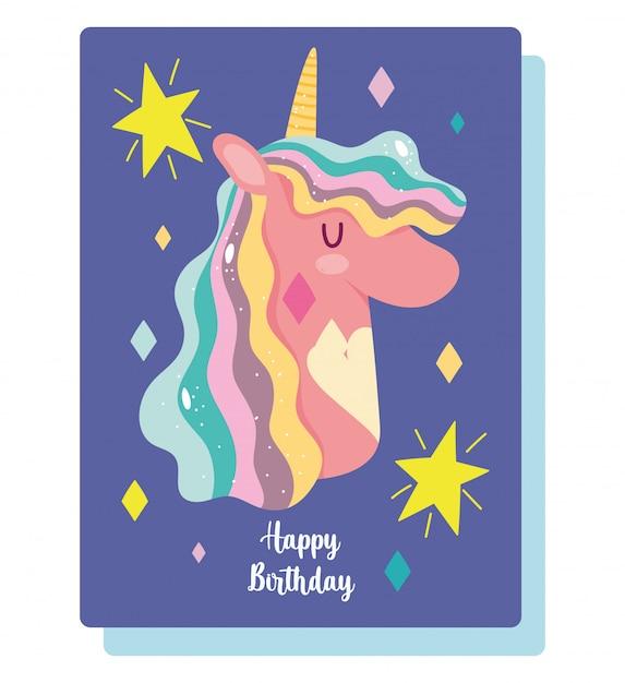 premium vector  happy birthday unicorn cartoon invitation