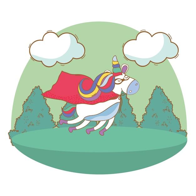 Happy birthday unicorn cartoons Premium Vector