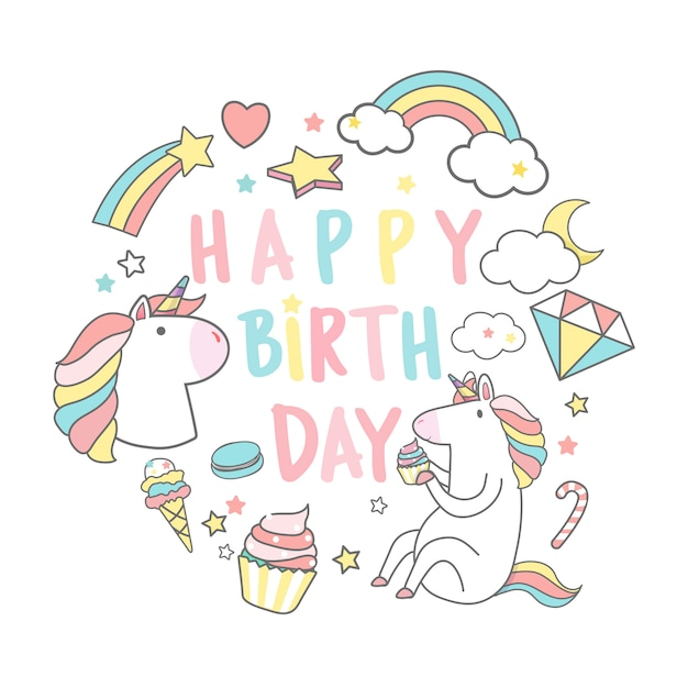 Happy birthday unicorn with magic elements card vector Free Vector
