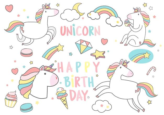 Happy birthday unicorn with magic elements card vector Free Vector