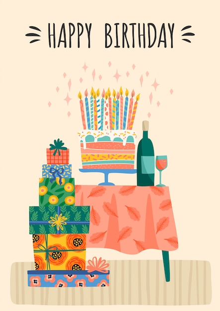 お誕生日おめでとうございます。かわいいギフトボックスとケーキのベクトルイラスト。 Premiumベクター