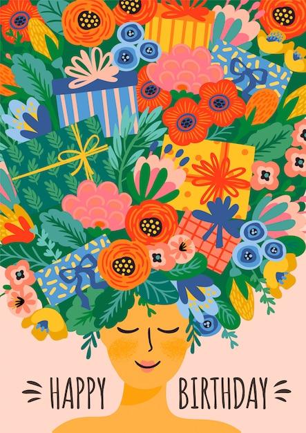お誕生日おめでとうございます。花の花束と頭の上のギフトボックスとかわいい女性のベクトルイラスト Premiumベクター