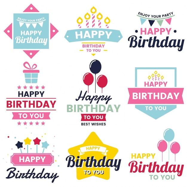 Happy Birthday Vector Logo For Banner Vector