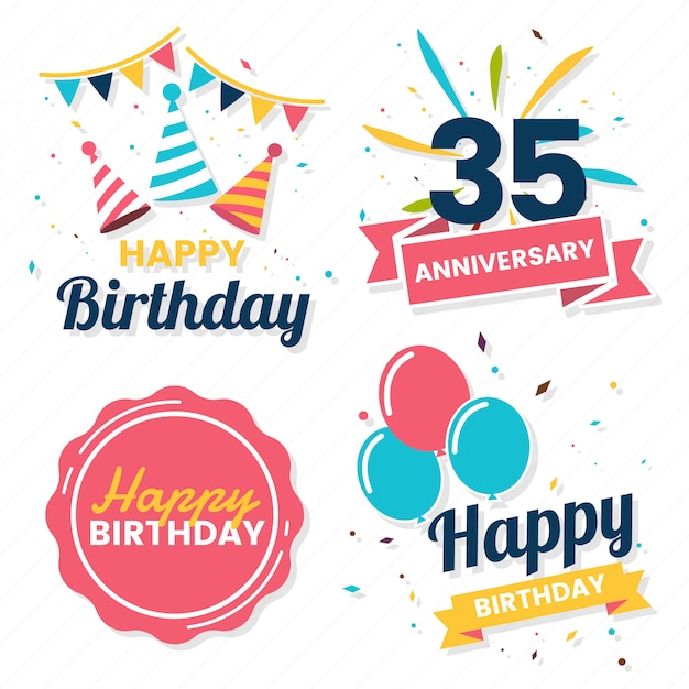 Happy Birthday Vector Logo For Banner Vector