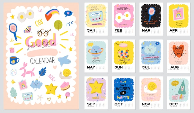 Happy birthday wall calendar.  yearly planner have all months. good organizer and schedule. cute kid
