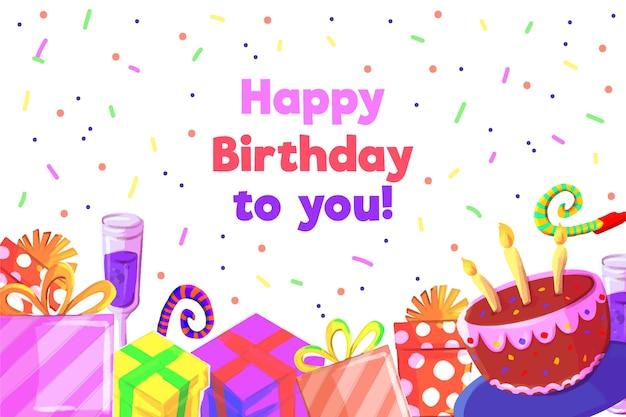 Happy birthday wallpaper Free Vector