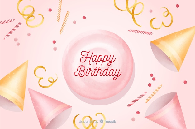 Happy birthday watercolor background with confetti Free Vector