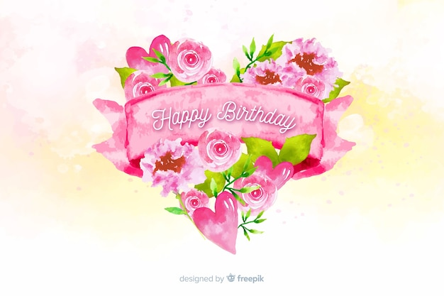 Happy birthday watercolor background with flower heart Free Vector