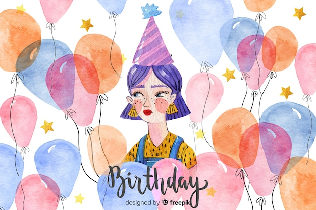 Happy birthday watercolor background Free Vector