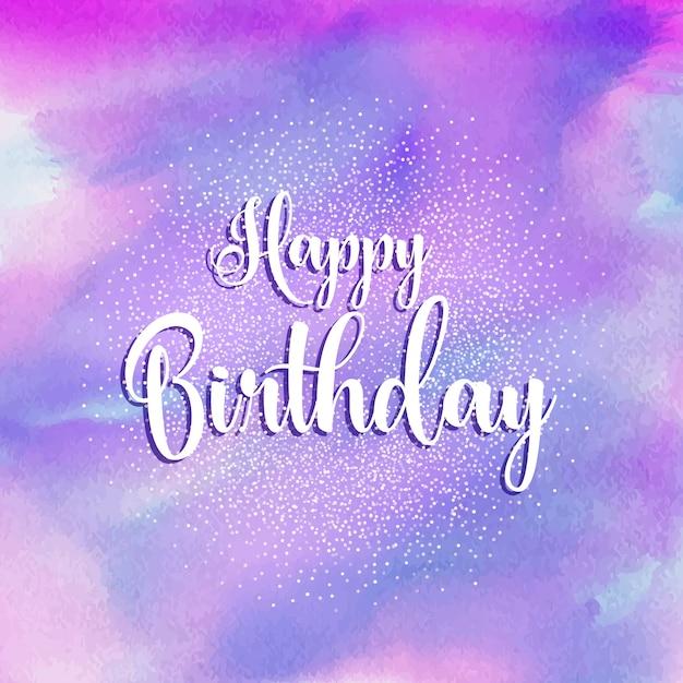 Happy Birthday Watercolour Background Vector