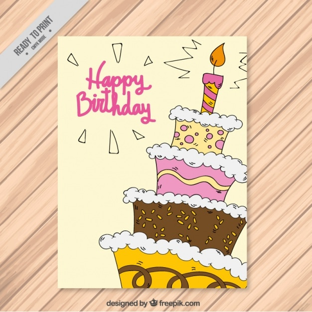 Happy birthday with a handdrawn cake Vector Free Download