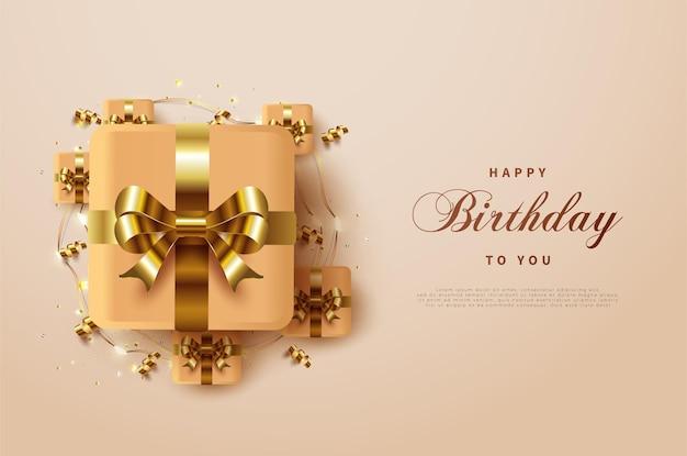 다른 작은 상자로 둘러싸인 고급스러운 골드 리본 선물 상자로 생일 축하합니다. 프리미엄 벡터