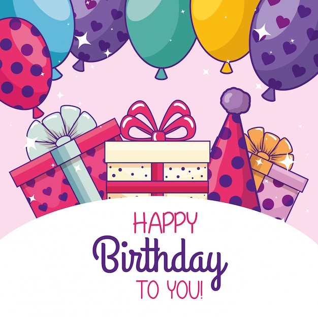 Happy birthday with balloons and party hat Free Vector