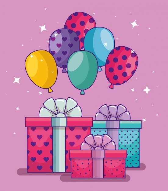 Happy birthday with balloons and presents gifts Free Vector