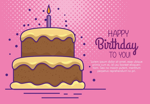 Happy birthday with cake and candle decoration Free Vector