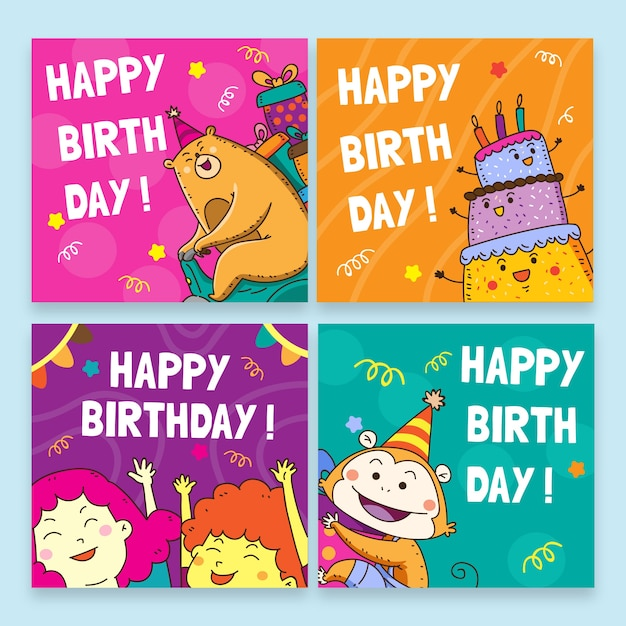 Happy birthday with colourful templates for birthday party Free Vector