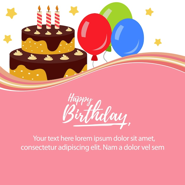 Happy Birthday With Cute Cake Tower Vector Premium Download
