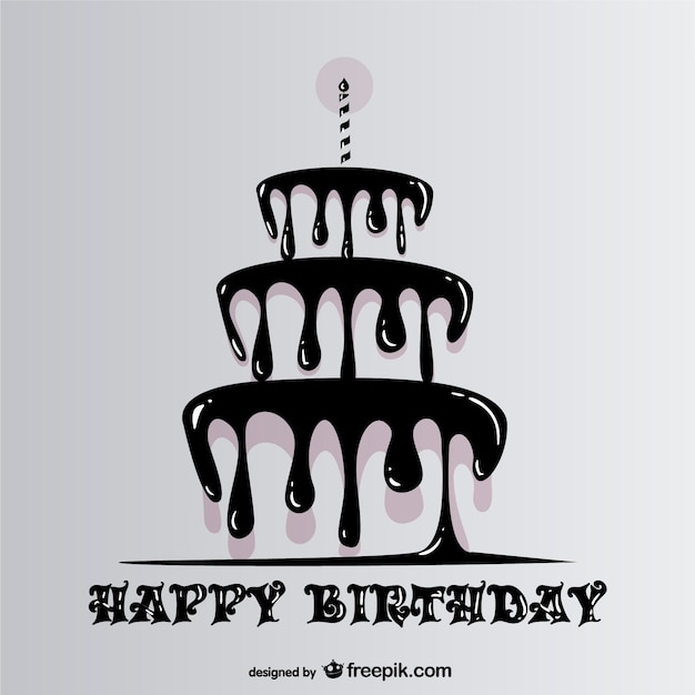 Happy Birthday With Dripping Cake Vector