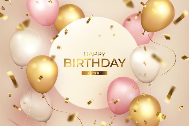 С днем рождения с рамкой и воздушными шарами Бесплатные векторы