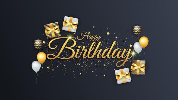 С днем рождения с подарочной коробкой и воздушным шаром в черном, белом и золотом цвете Premium векторы