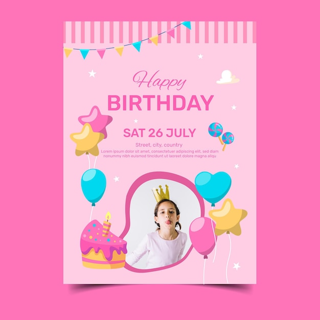 Happy birthday with girl and cake slice Free Vector
