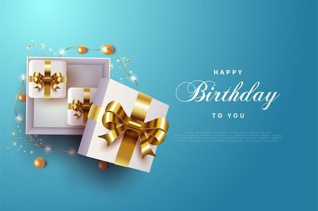 골드 리본 선물 상자와 함께 생일 축하해. 프리미엄 벡터