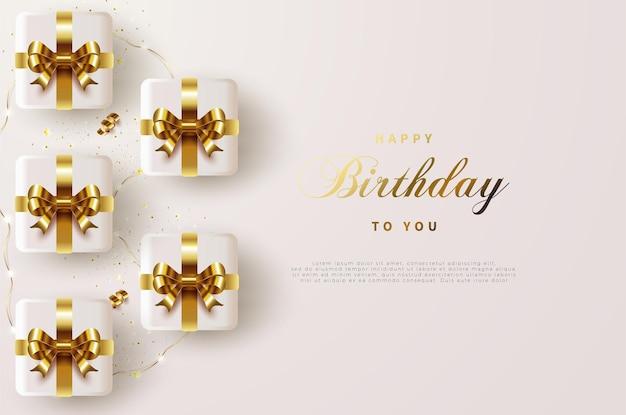 골드 리본 선물 상자와 함께 생일 축하합니다 프리미엄 벡터