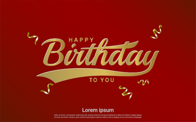 Premium Vector Happy Birthday With Gold Ribbon On Red Background