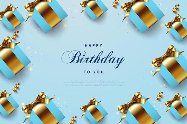 고급스러운 골드 리본 선물 상자로 생일 축하합니다 프리미엄 벡터